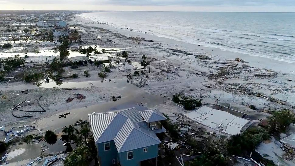 In this image made from video and provided by SevereStudios.com, damage from Hurricane Michael is seen in Mexico Beach
