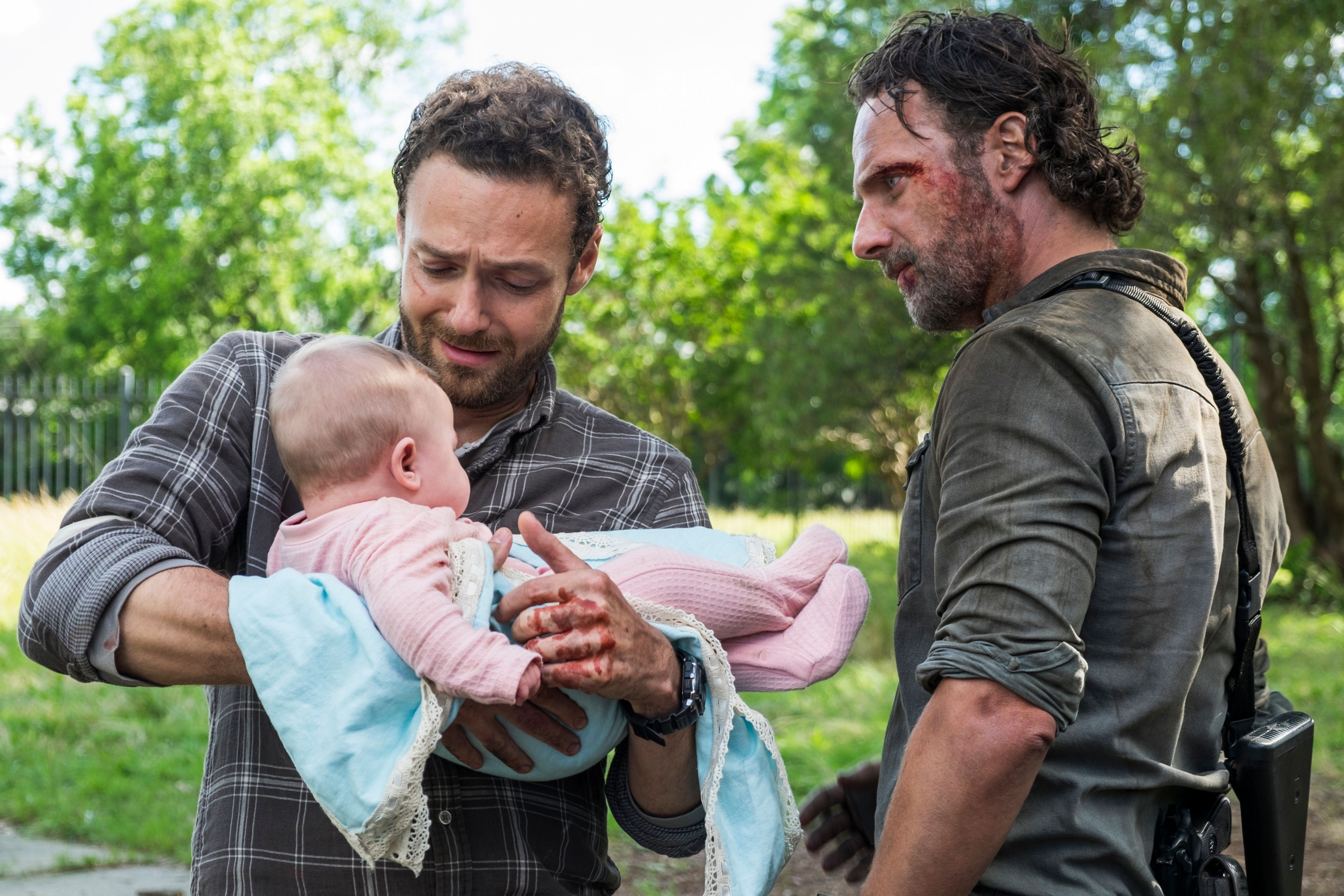 Andrew Lincoln as Rick Grimes, Ross Marquand as Aaron