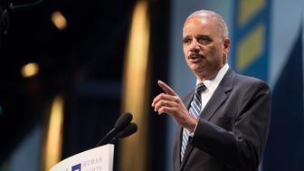 IMAGE DISTRIBUTED FOR HUMAN RIGHTS CAMPAIGN - Former Attorney General Eric Holder speaks at the Human Rights Campaign 2018 National Dinner on Saturday, Sept. 15, 2018 in Washington. (Kevin Wolf/AP Images for Human Rights Campaign)