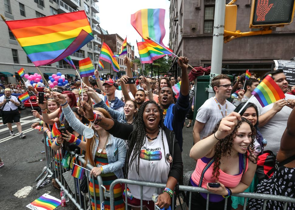 People celebrate at New York's Pride Parade in 2015, just days after the Supreme Court handed down its landmark decision on m