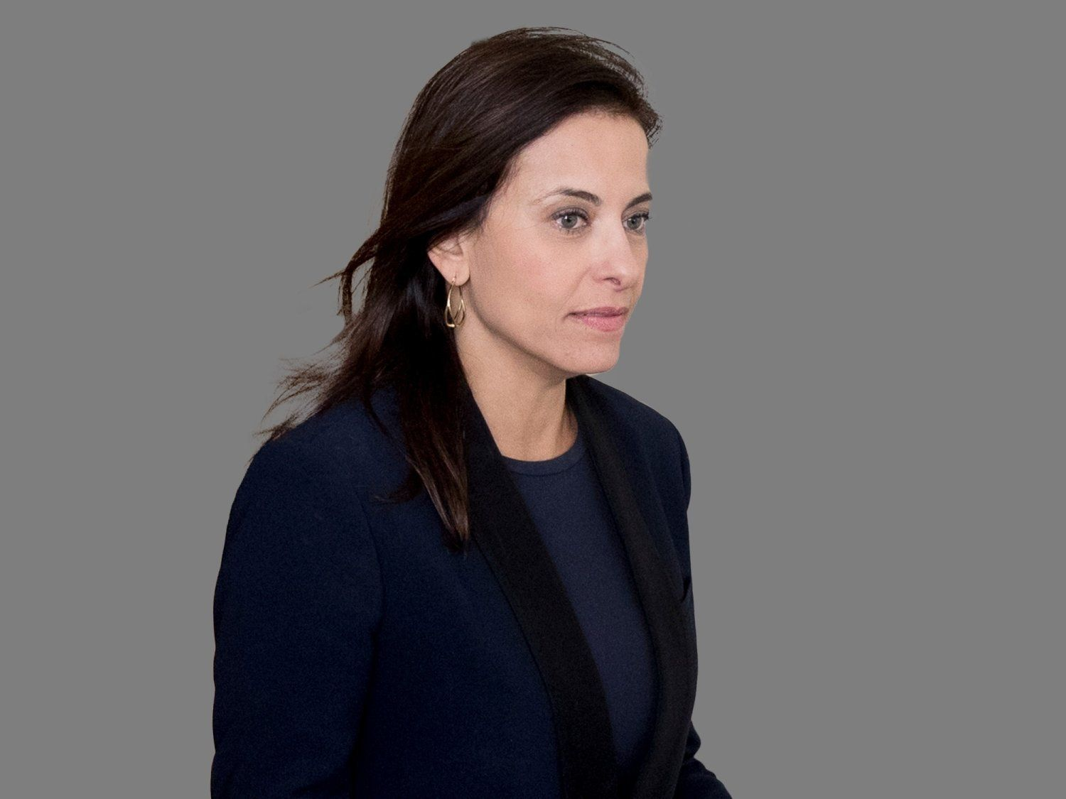 Dina Powell headshot, as White House deputy national security adviser, graphic element on gray