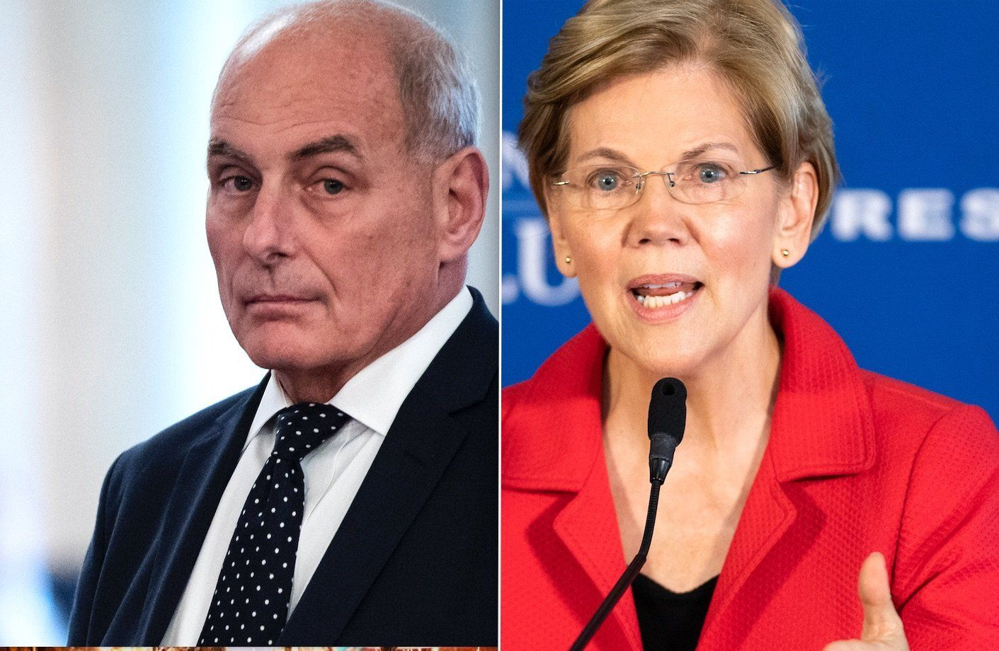 John Kelly, Elizabeth Warren