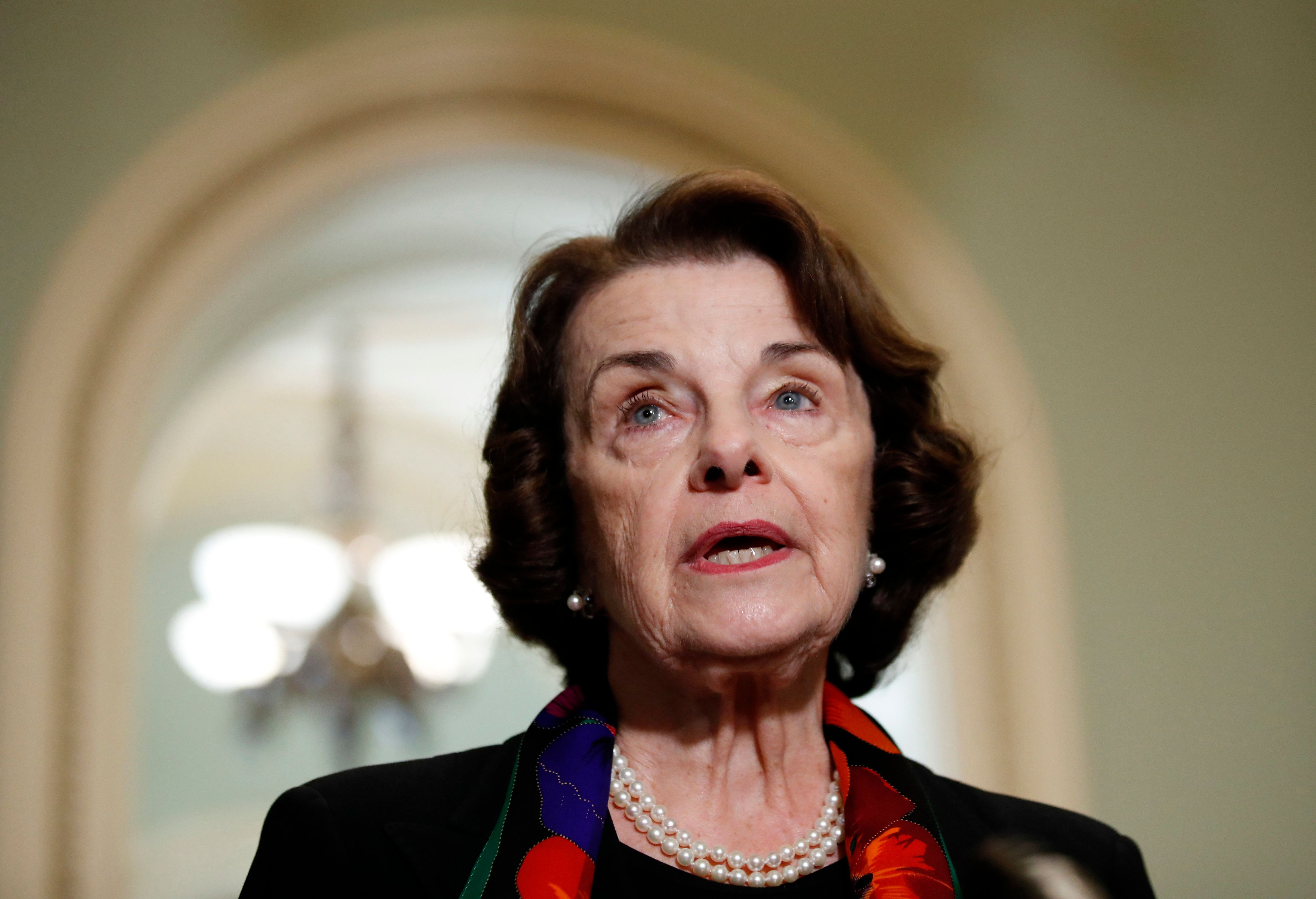 FILE - In this Oct. 4, 2018, file photo Sen. Dianne Feinstein, D-Calif., speaks to the media on Capitol Hill, in Washington. A Southern California man has been arrested after authorities say he sent an email threatening to kill Feinstein, on Sept. 30. (AP Photo/Alex Brandon, file)