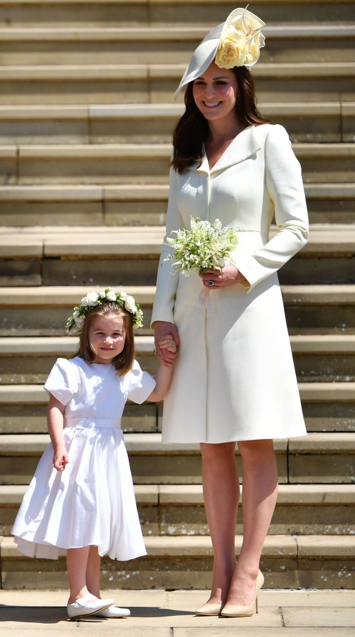 Princess Charlotte and the Duchess of Cambridge at the royal wedding of Meghan Markle and Prince Harry.