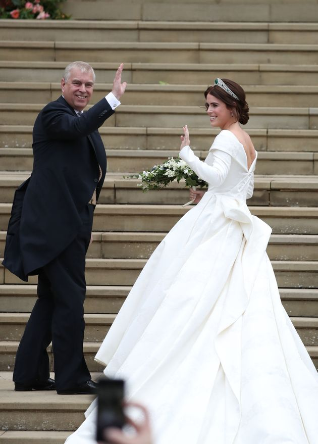 The bride-to-be and her father Prince Andrew on the steps to St George's