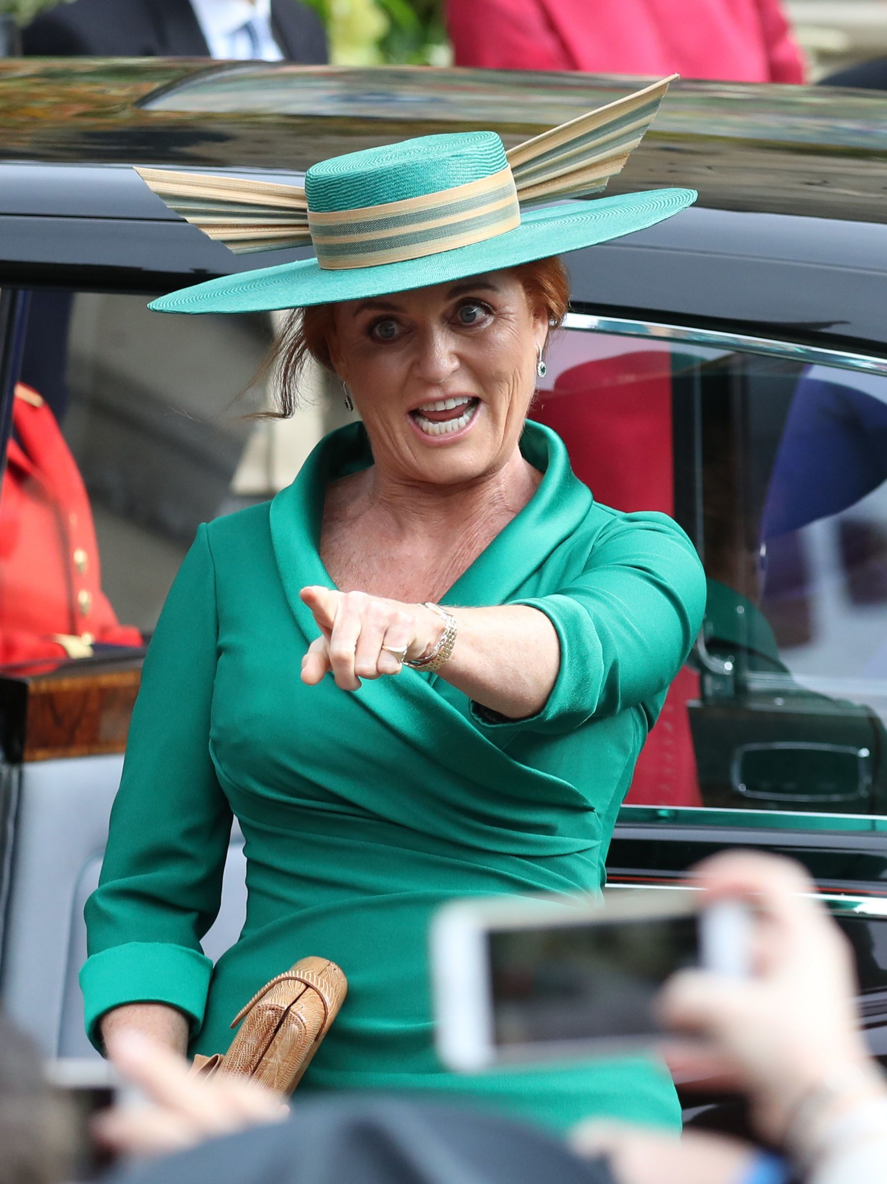 Sarah Ferguson arrives for the wedding of Princess Eugenie to Jack Brooksbank at St George's Chapel in Windsor Castle.
