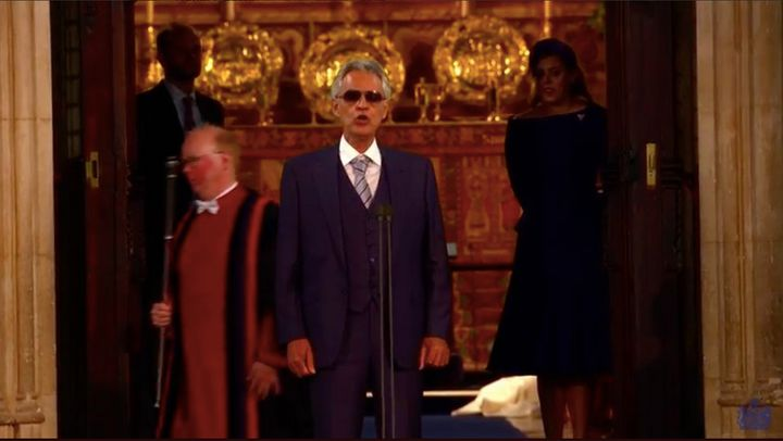 Andrea Bocelli singing at the royal wedding of Princess Beatrice of York and Jack Brooksbank.