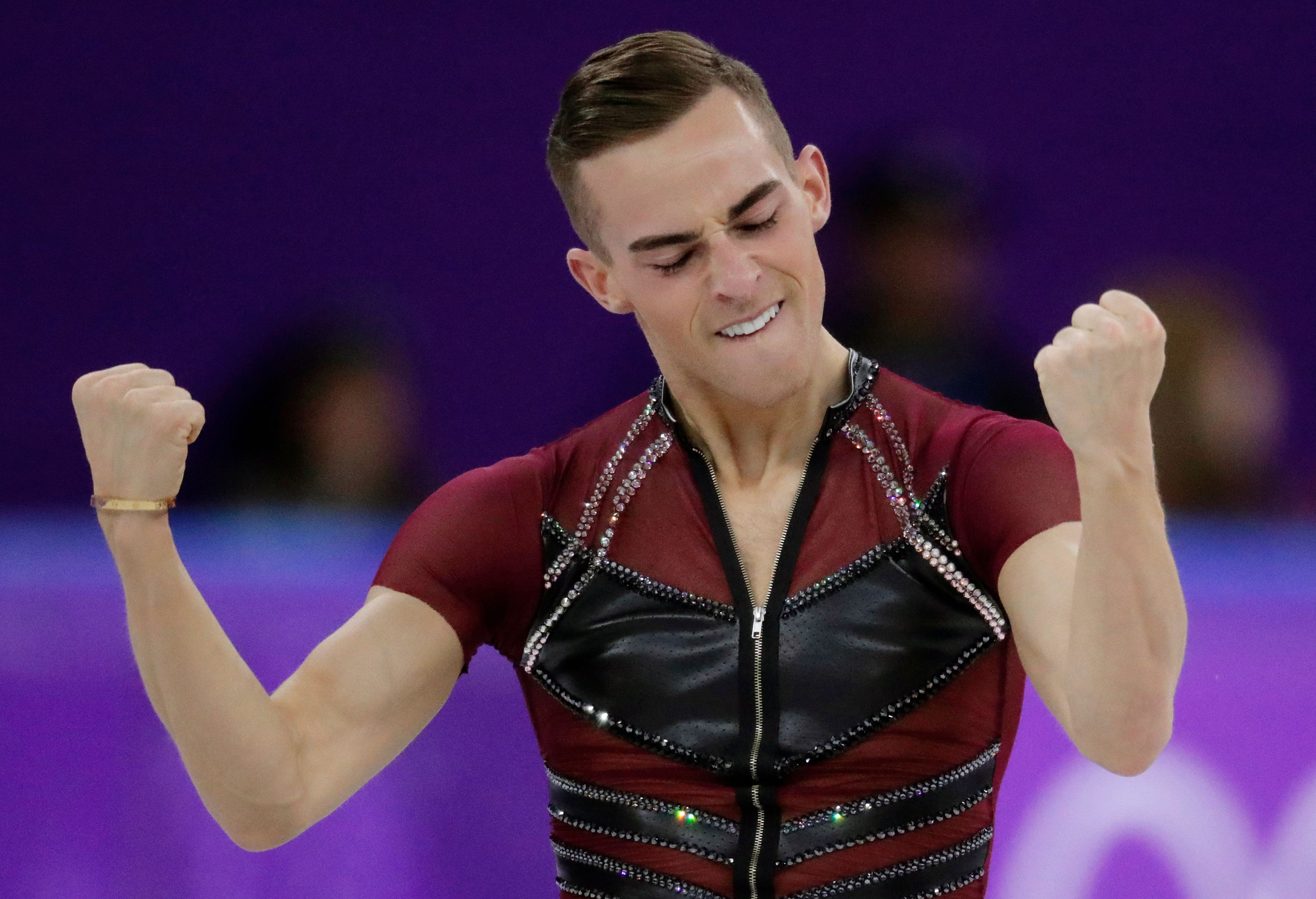 FILE - In this Feb. 16, 2018, file photo, Adam Rippon of the United States reacts after his performance during the men's short program figure skating event at the 2018 Winter Olympics in Gangneung, South Korea. Rippon is among the athletes who will be featured in ESPN the Magazine's 10th anniversary Body Issue. The issue hits newsstands on June 29, 2018. (AP Photo/Julie Jacobson, File)