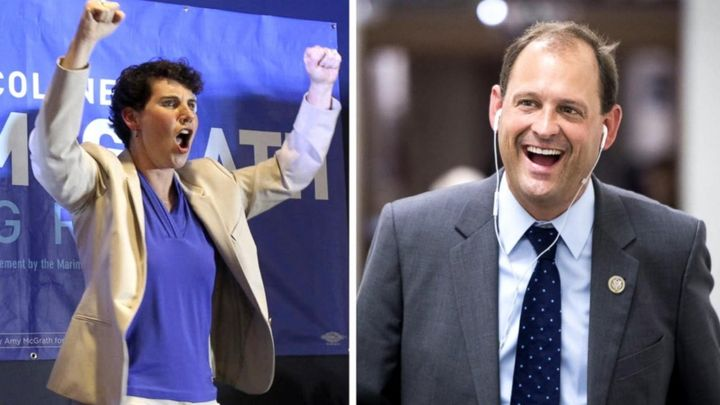 Retired Marine fighter pilot Amy McGrath, left, is neck and neck with incumbent Rep. Andy Barr (R) in a contentious congressi