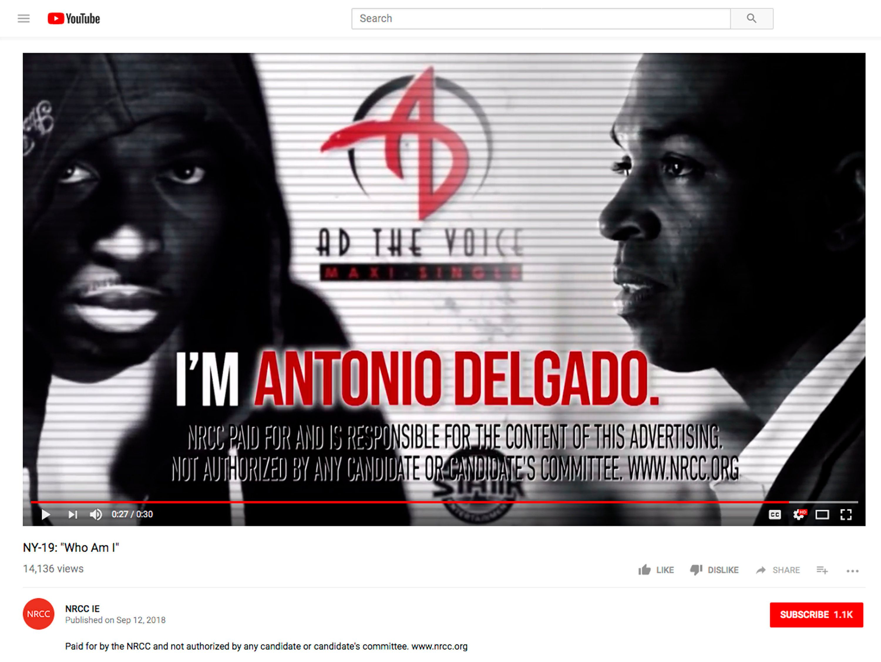 This screen shot is from a campaign ad posted on YouTube posted by the National Republican Campaign Committee for New York's 19th Congressional District contest between first-term Republican Rep. John Faso and Democratic challenger Antonio Delgado, invoking his past as a rapper. It is among several attack ads raising critiques of how race and ethnicity are being injected into some of this election cycle's races, also including the New York governor's race, where accusations of anti-Semitism were invoked. (YouTube via AP)