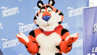 NEW YORK, NY - SEPTEMBER 15: Tony The Tiger speaks during the 'Tony The Tiger' press conference debuting Tonys new look at 620 Loft & Garden on September 15, 2016 in New York City. (Photo by Kris Connor/Getty Images)