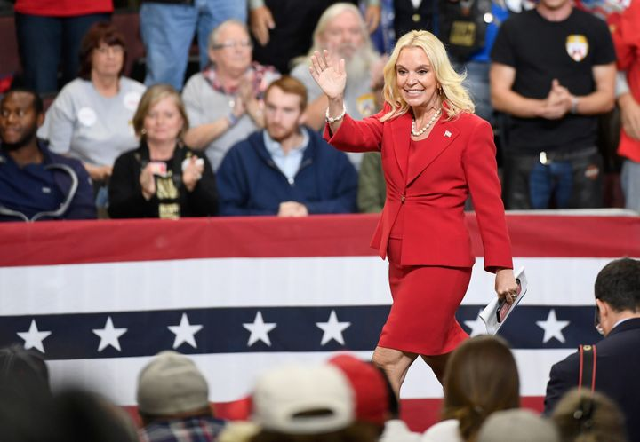 Karin Housley, Republican candidate for U.S. Senate in Minnesota, waves to the crowd at an Oct. 4, 2018, campaign rally in Rochester, Minnesota, headlined by President Donald Trump.