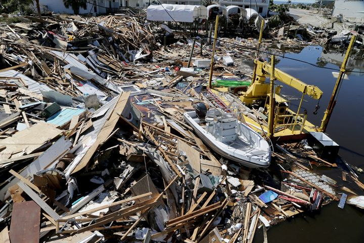 Boats lie among the rubble along in Mexico Beach, Florida, two days after Hurricane Michael devastated the small coastal town