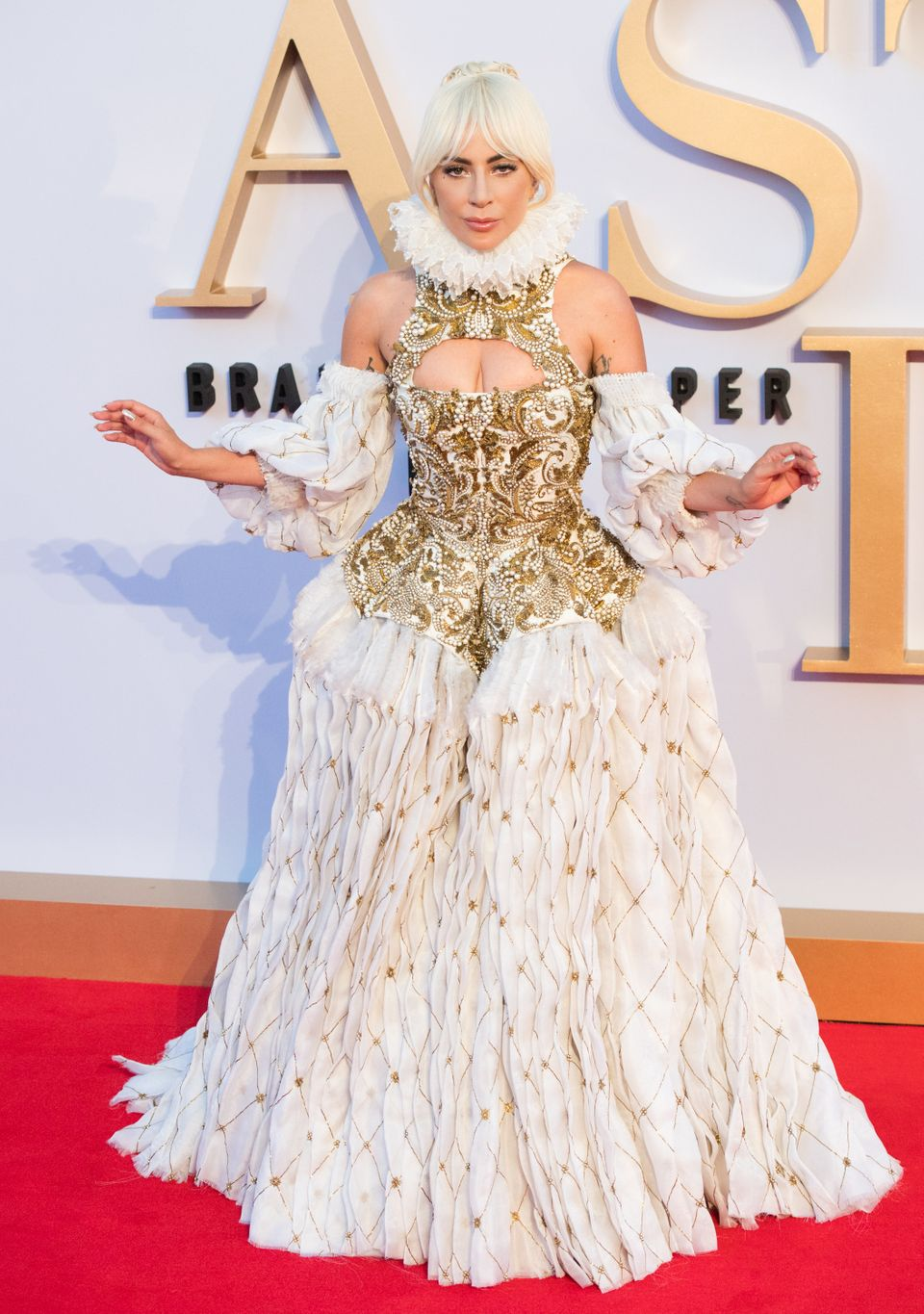 "Gaga wears an Elizabethan era-inspired Alexander McQueen gown for the U.K. premiere of ""A Star Is Born"" on Sept. 27, 2018.&nb"