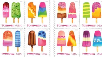 This image released by the United States Postal Service shows the Frozen Treats Forever stamps, the first scratch-and-sniff stamps to be released on June 20, 2018 in Austin. (USPS via AP)