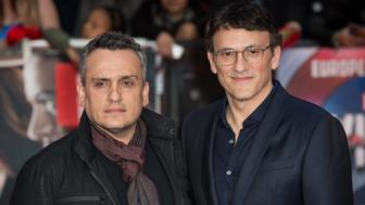 Directors Anthony and Joe Russo pose for photographers upon arrival at the premiere of the film 'Captain America Civil War' in London, Tuesday, April 26, 2016. (Photo by Vianney Le Caer/Invision/AP)