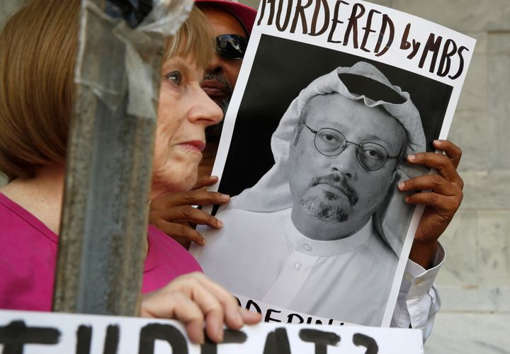 A protest outside the Saudi Embassy in Washington, D.C., on Oct. 10.