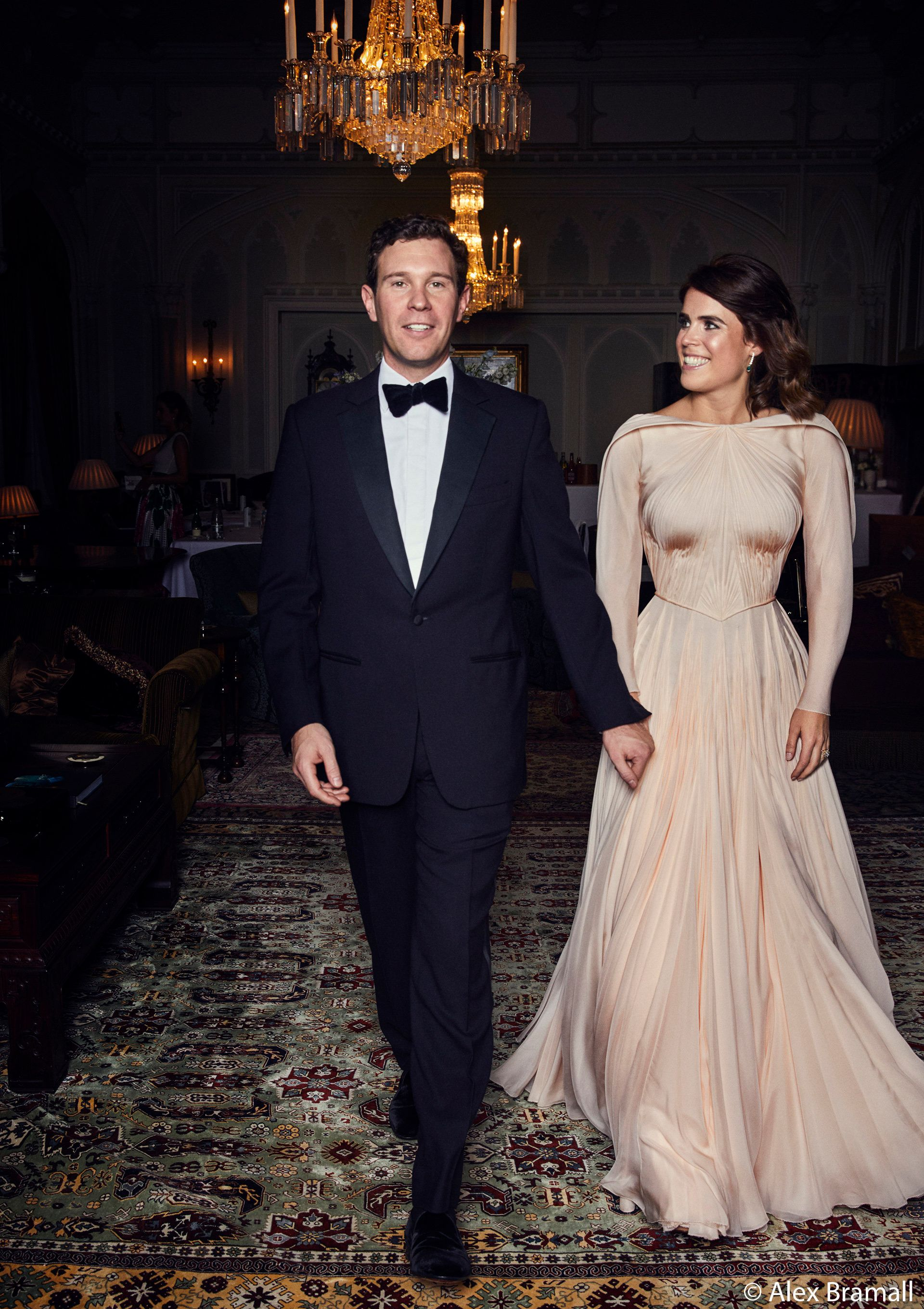 Jack Brooksbank and Princess Eugenie of York arrive at the Royal Lodge in Windsor for a dinner the...