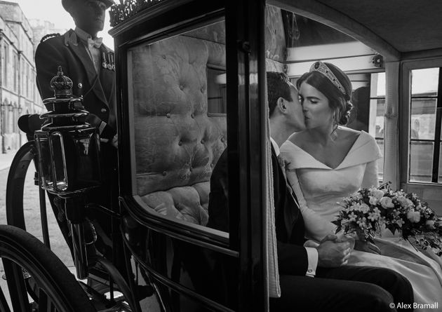 Princess Eugenie and Jack Brooksbank smooch in the Scottish State Coach as it returns to Windsor Castle...