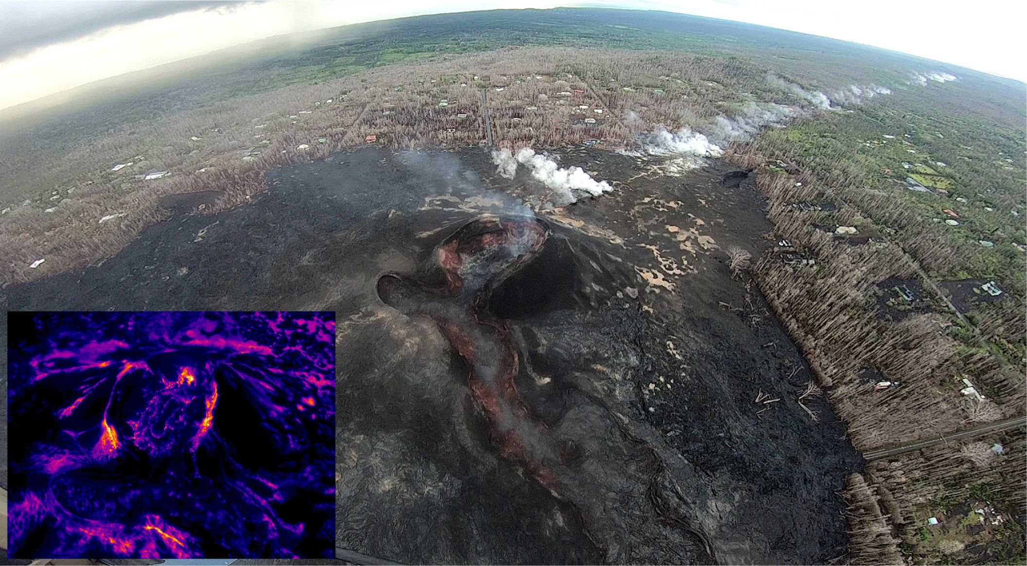 This wide-angle photo shows the fissure 8 cone (center of image) and the long line of steaming areas extending uprift (west), towards the upper right corner of the image. No significant change was observed at fissure 8 during today's overflight. Thermal images (see inset lower left) show no signs of lava within the cone - the small collapse pit in the center of the crater floor is cold.