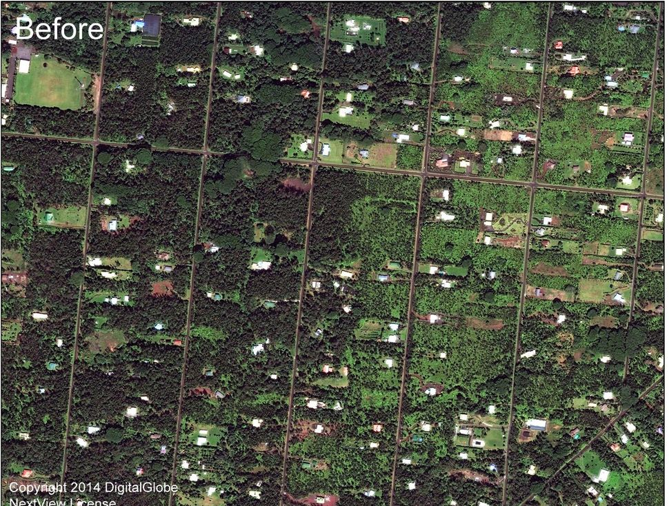 A close-up of the eastern part of Leilani Estates before the eruption.