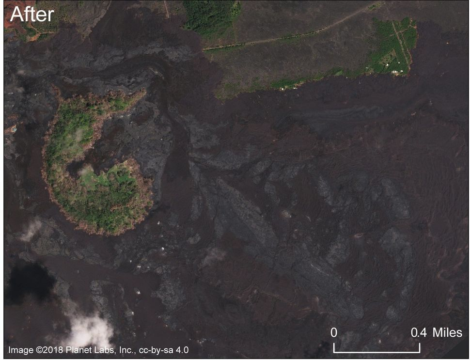 A comparable photo after mostof the neighborhood was covered by thefissure8lava flow.