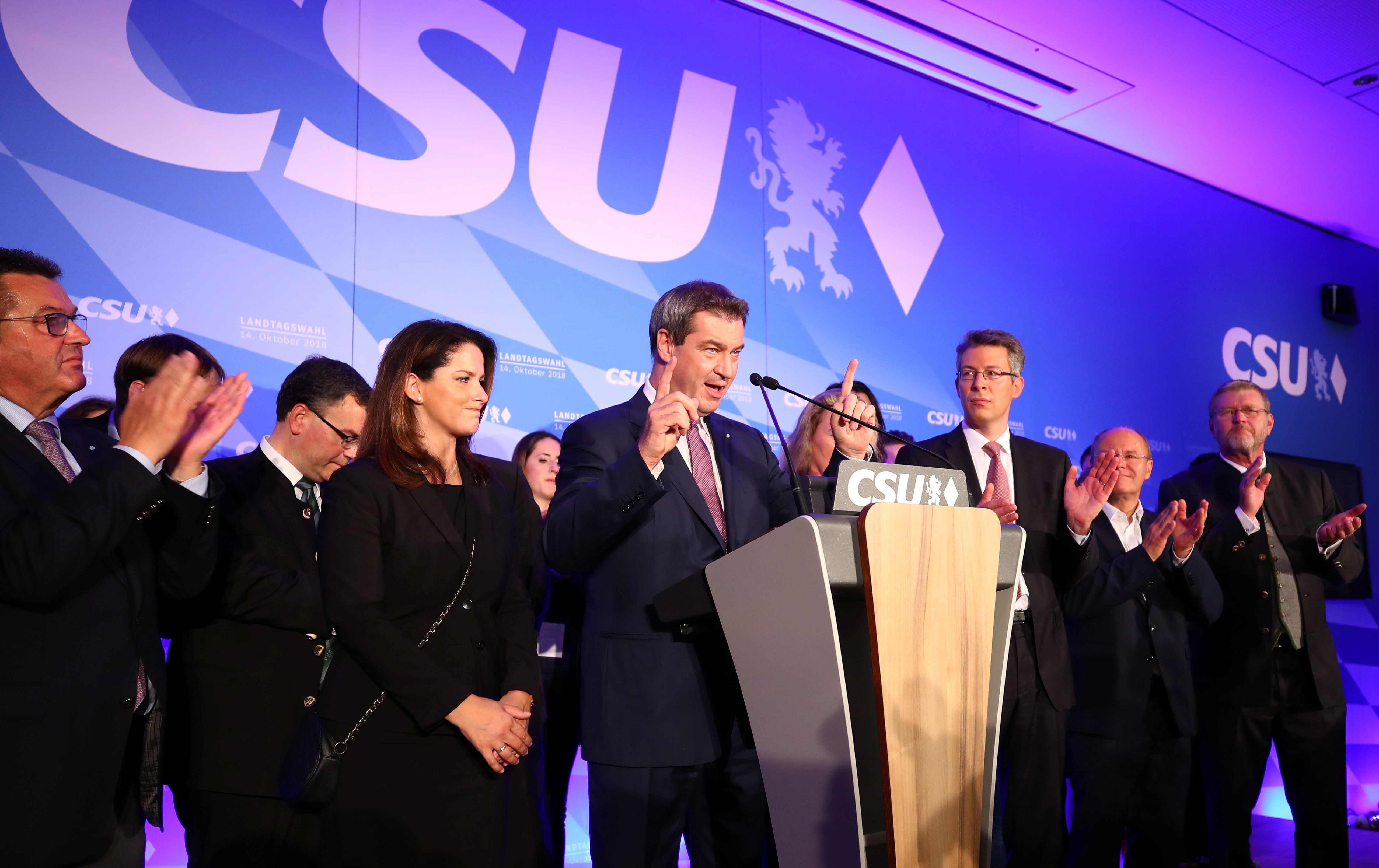 Bavarian State Prime Minister Markus Soeder of the Christian Social Union Party (CSU) reacts after first exit polls in the Bavarian state election in Munich, Germany, October 14, 2018. REUTERS/Michael Dalder