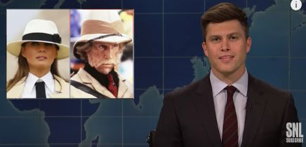 """Colin Jost isn't buying Melania Trump's explanation that her """"tone deaf"""" """"I don't care"""" jacket was a dig at the """"left-wing media."""""""