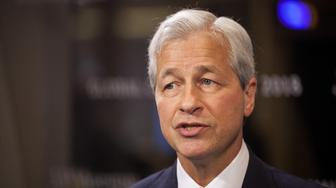 Jamie Dimon, chief executive officer of JPMorgan Chase & Co., speaks during a Bloomberg Television interview on the sidelines of the JP Morgan Global China Summit in Beijing, China, on Tuesday, May 8, 2018. Dimon signaled that he's hopeful mounting trade tensions won't derail the U.S. bank's plans to create a wholly owned securities venture in China. Photographer: Giulia Marchi/Bloomberg via Getty Images