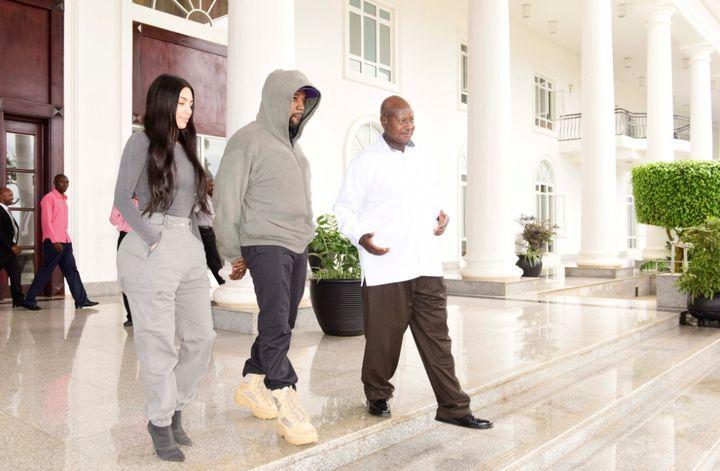 Kim Kardashian and Kanye West meet the president of Uganda, Yoweri Kaguta Museveni, in Entebbe on Oct. 15.