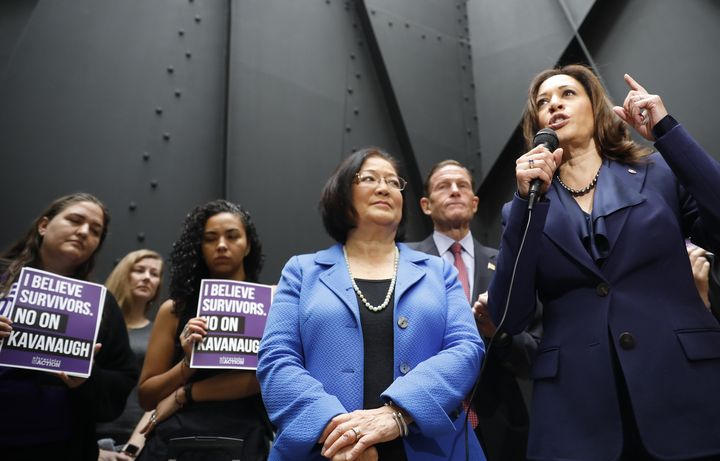Senators Mazie Hirono (center) and Kamala Harris speak at a rally about Brett Kavanaugh's confirmation hearings and the sexua