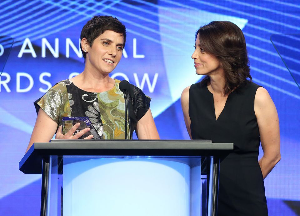 (L-R) 'Making A Murderer' directors Moira Demos and Laura Ricciardi at the 2016 Emmys, where they took...