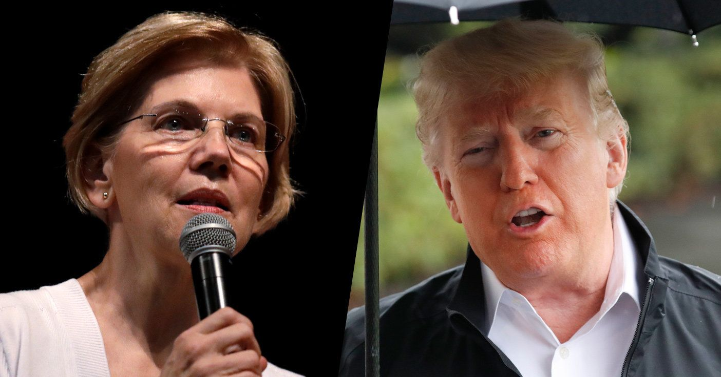 Sen. Elizabeth Warren and President Trump. (Photos: Charles Krupa/AP – Pablo Martinez Monsivais/AP)Sen. Elizabeth Warren, D-Mass., made public the results of a DNA test. (LightRocket via Getty Images)