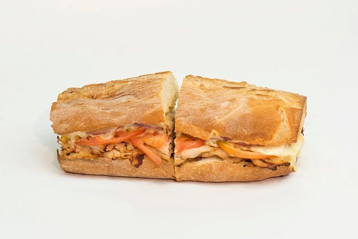 The Rajun Cajun is served hot on a baguette with plenty of Cajun turkey, pepper jack, tomato, onion and spicy salsa mayo.