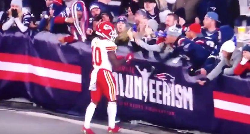 Patriots Fans Spray Beer And Flip Bird At Chiefs Star Tyreek