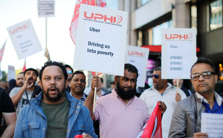 Uber drivers in London stage a 24-hour strike on Oct. 9 as they protest for higher fares and improved workers' rights.