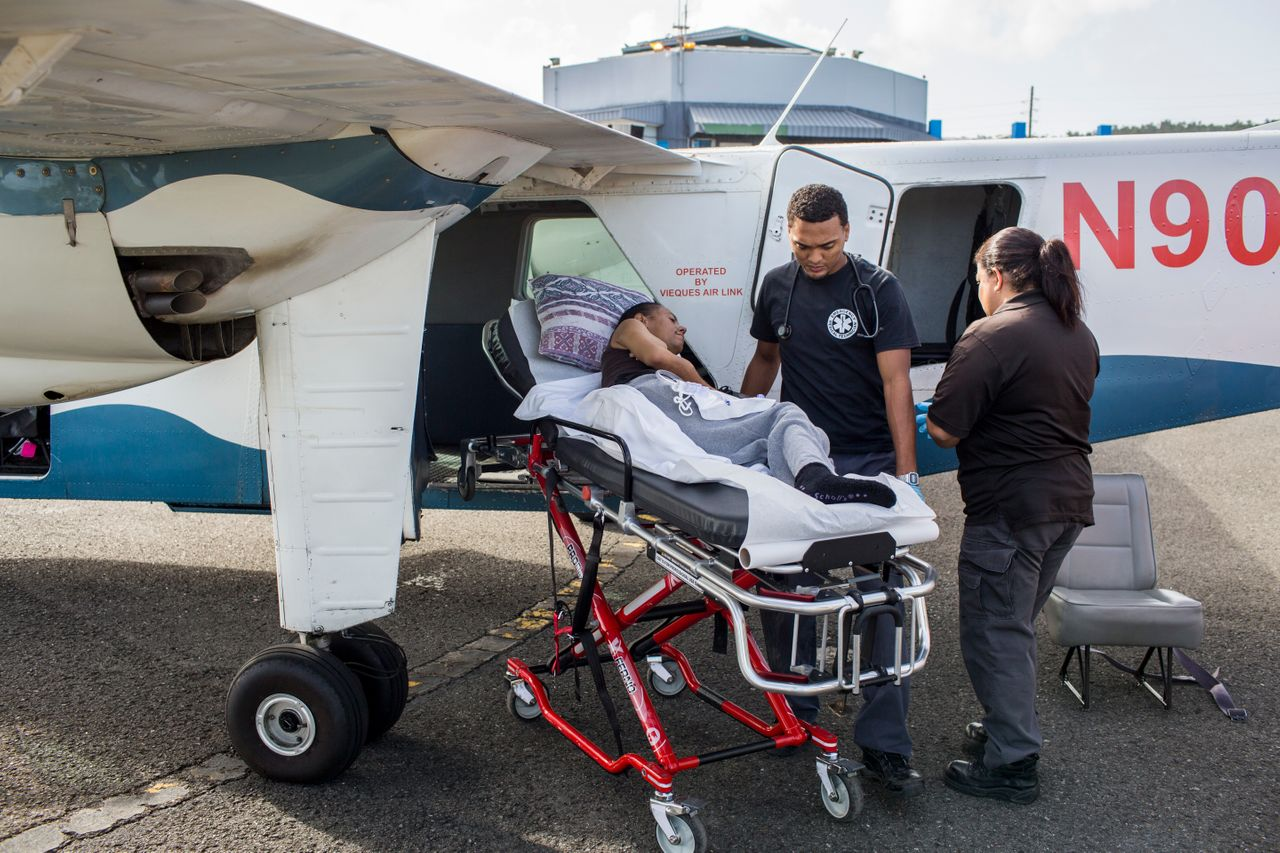 At the Vieques airport, Sandra Medina de Jesús is transferred in a small aircraft for her dialysis treatment at the Fresenius Kidney Care Center in Humacao, Puerto Rico.
