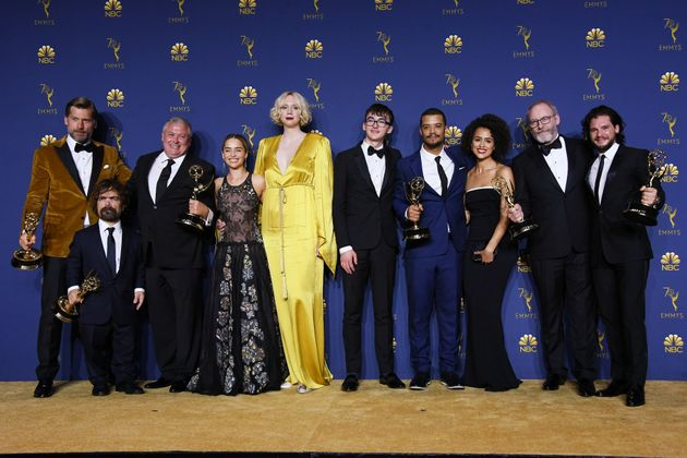 "Cast and crew of ""Game of Thrones"" pose with their Outstanding Drama Series at the Emmy Awards..."