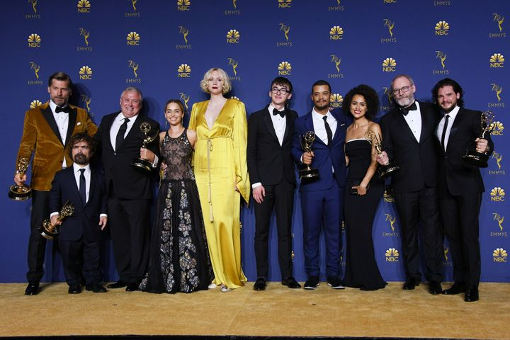"Cast and crew of ""Game of Thrones"" pose with their Outstanding Drama Series at the Emmy Awards on September 17, 2"