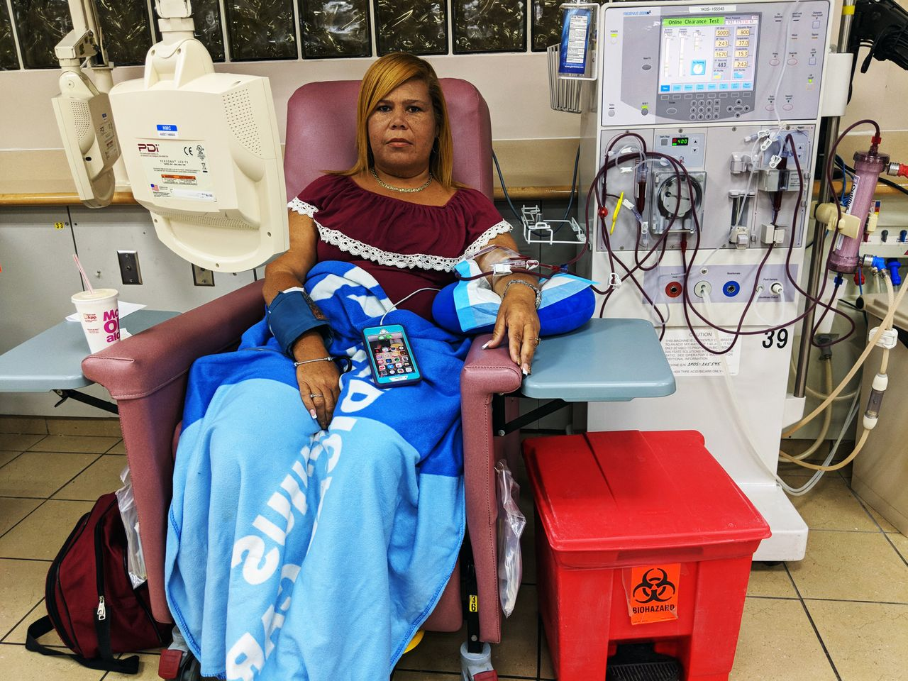 Rivera Acosta usually spends a bit over three hours connected to a hemodialysis machine for her dialysis treatment.