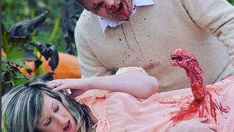 "A Canadian couple took their love of Halloween to the next level with a maternity shoot inspired by the movie ""Alien."""
