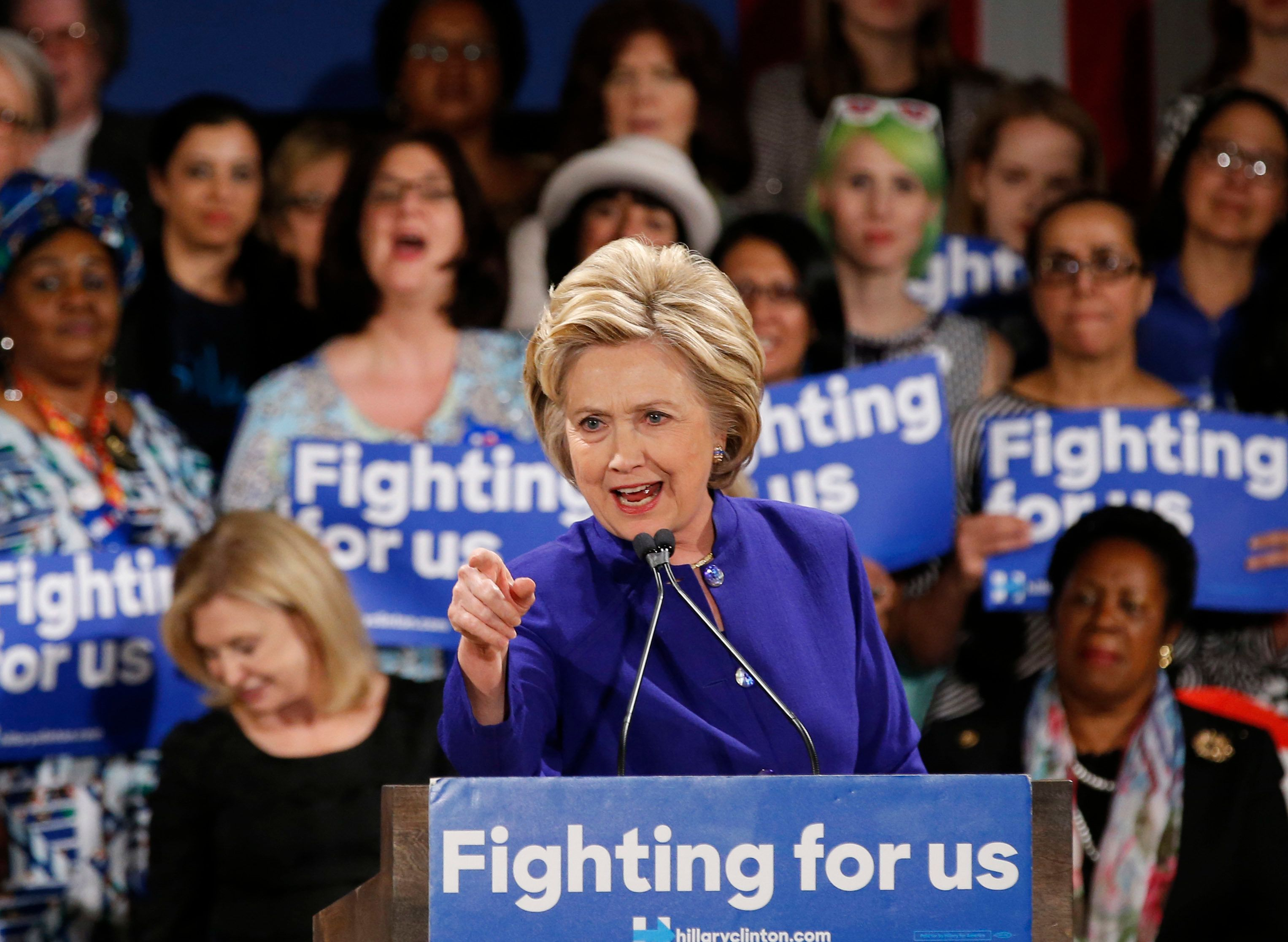 Democratic presidential candidate Hillary Clinton speaks at a Women for Hillary event at the New York Hilton hotel in midtown Manhattan one day ahead of the New York primary, Monday, April 18, 2016, in New York.  (AP Photo/Kathy Willens)