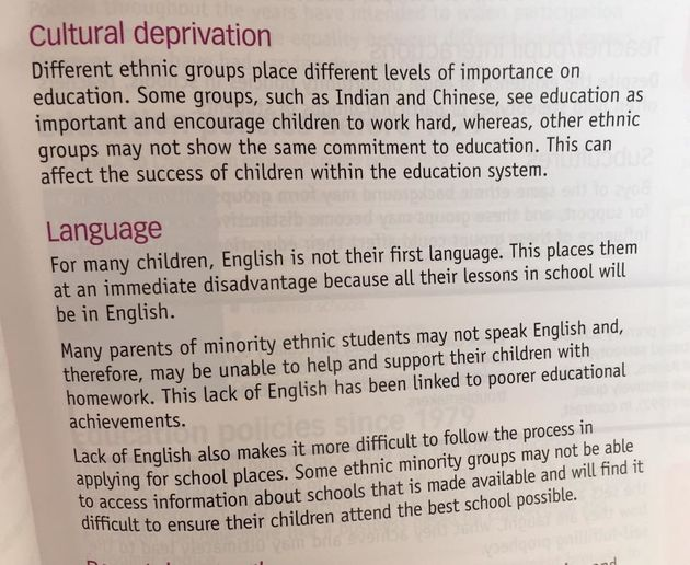 The book links education is to ethnicity, and claims 'different ethnic groups place different levels...