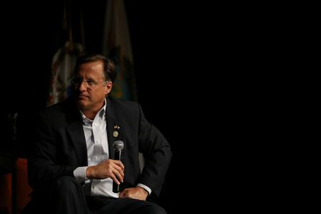 FILE PHOTO: U.S. Rep. Dave Brat (R-VA) holds a town hall meeting with constituents at Clover Hill Assembly of God in Midlothian, Virginia, U.S., May 9, 2017. REUTERS/Chet Strange