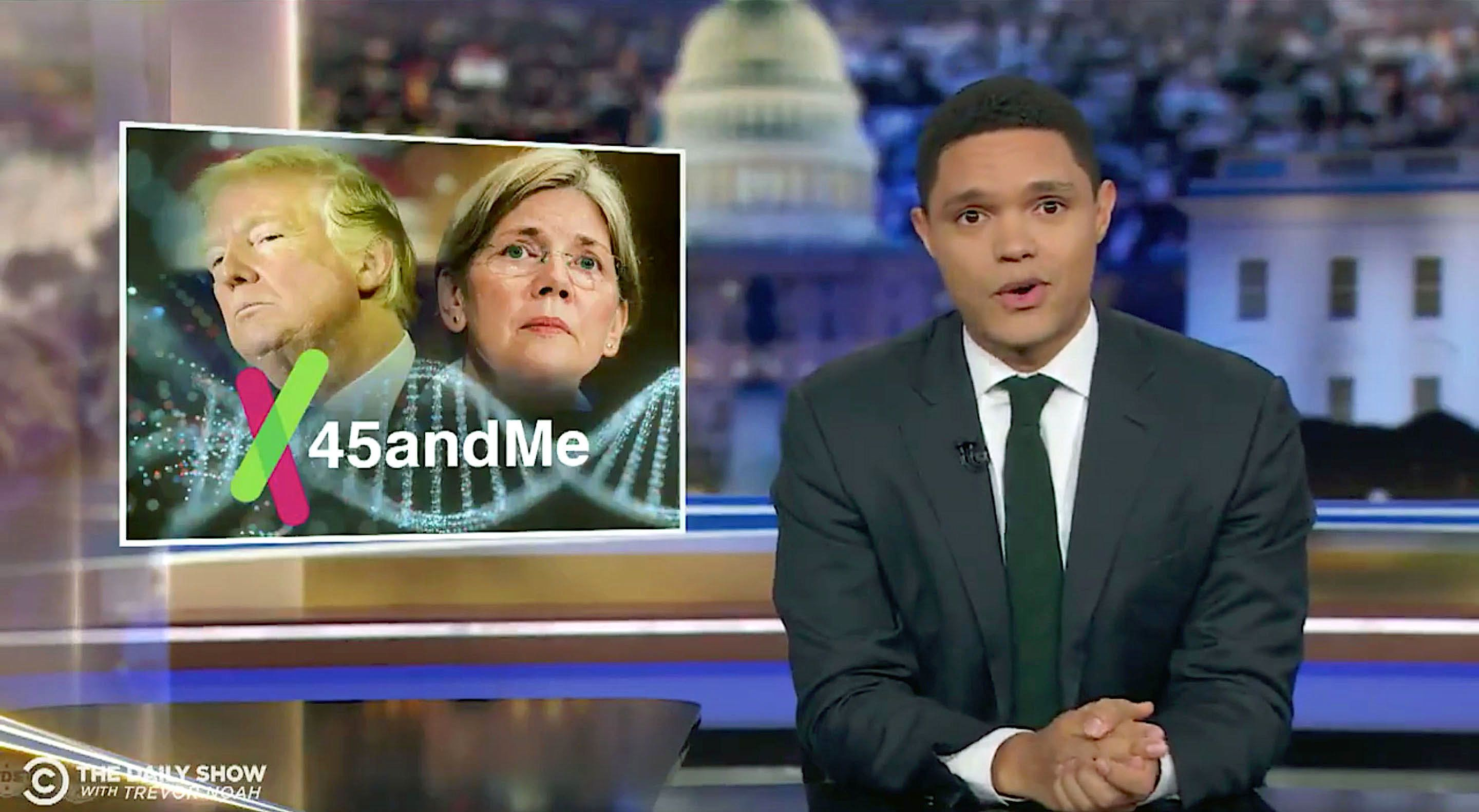 Trevor Noah discusses Sen. Elizabeth Warren's DNA test.