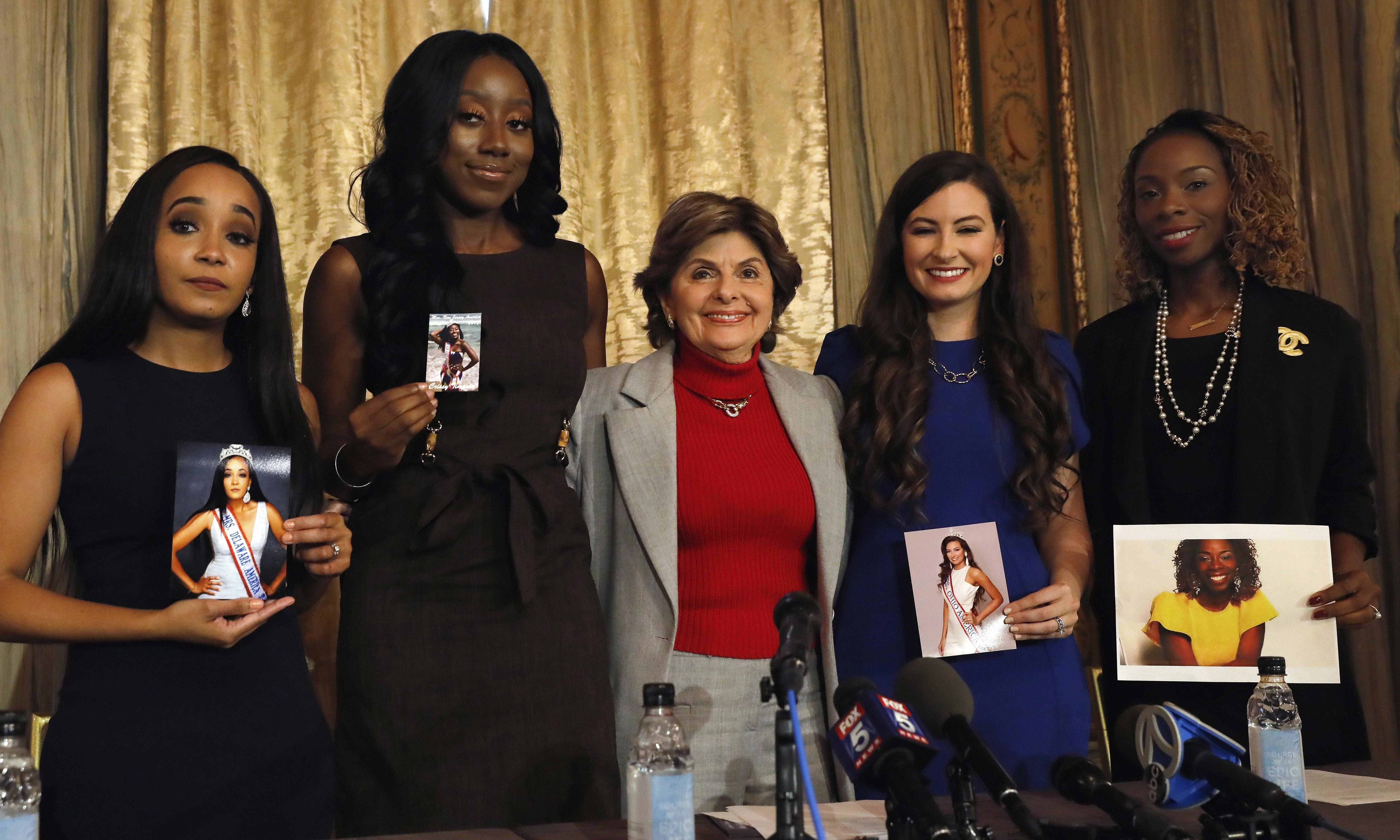 The four contestants in this year's Mrs. America pageant, from left, Kimberly Phillips, Crissy Timpson, Gloria Allred, Brandy Palacios, and Jeri Ward, have accused the pageant's director of making racially insensitive remarks.