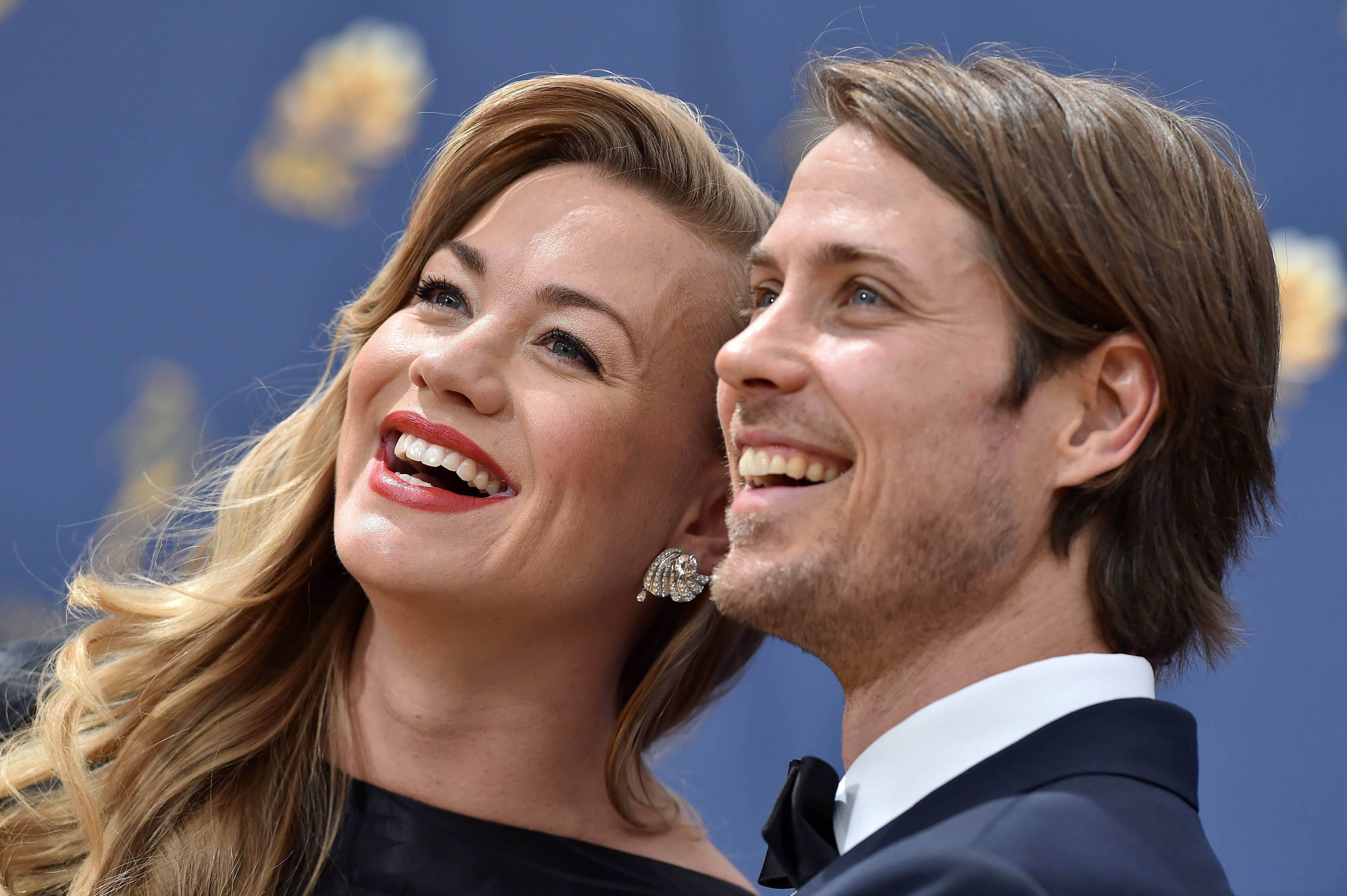 LOS ANGELES, CA - SEPTEMBER 17:  Yvonne Strahovski and Tim Loden attend the 70th Emmy Awards at Microsoft Theater on September 17, 2018 in Los Angeles, California.  (Photo by Axelle/Bauer-Griffin/FilmMagic)