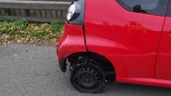 Shocking Photos Show Severely Damaged Car That Was Driven On Three Wheels By