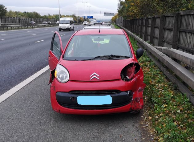 Shocking Photos Show Car That Was Driven On Three Wheels Down Motorway By