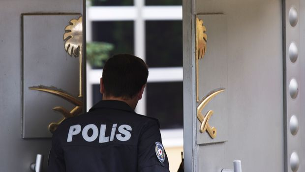 "Security personnel stand at the entrance of Saudi Arabia's consulate in Istanbul, Friday, Oct. 12, 2018. Germany says it is ""very concerned"" about the disappearance of Saudi writer Jamal Khashoggi in Istanbul, and is calling on Saudi Arabia to ""participate fully"" in clearing up reports that he may have been killed. Khashoggi went missing over a week ago after entering the Saudi consulate in Istanbul. (AP Photo/Petros Giannakouris)"